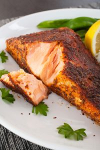 Cajun Salmon Plate Plated Blackened Redfish