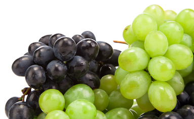 Green and black grapes